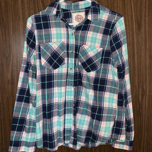 SO Tops - Plaid Button-Up